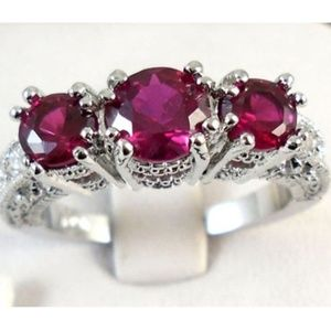 925 Sterling Silver Red Ruby 3 Stone CZ Ring New